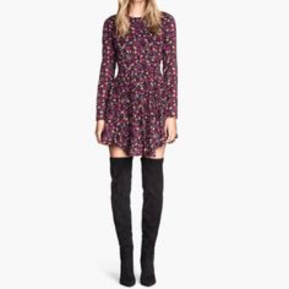 H M Dresses   Skirts - H M floral long sleeve fit and flare circle dress 34a10c376